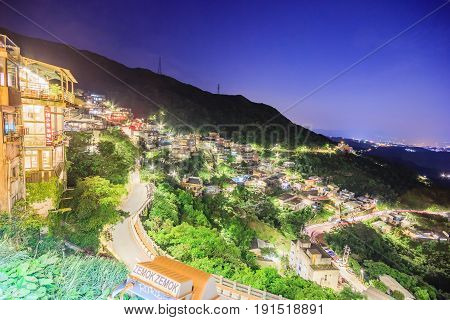 TAIPEI TAIWAN - APRIL 30 2017: Jiufen village a mountain village in Taipei which is famous for teahouses on April 30 2017 in Taipei Taiwan