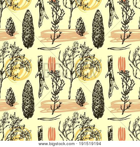 Hand drawn vector seamless pattern with wildflowers and cone. Decorative floral illustration. Sketch style. Us for skrapbuking, tissue, textile, cloth, fabric, web material