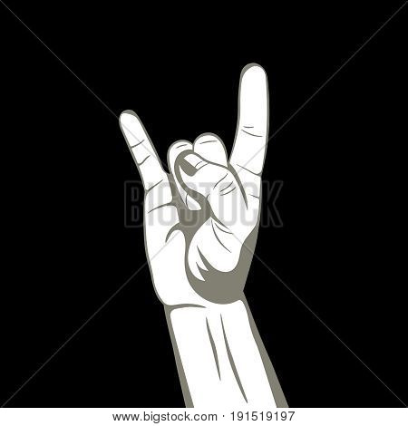 Hand with fingers up.Sign rock'n'roll.Symbol we together.The press on clothes.Design element for a poster emblems.Protection gesture.Vector illustration on a black background.