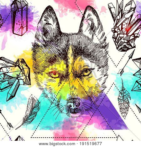 Beautiful hand drawn vector seamless pattern sketching of husky. Boho style drawing. Use for postcards, print for t-shirts, posters, tattoo, textile.