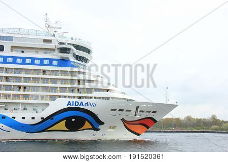 Velsen the Netherlands -April 24th 2017: Aida Diva on North Sea Canal on it's way to the Amsterdam Cruise Terminal