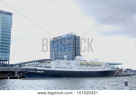 Amsterdam The Netherlands - April 27th 2017: Astoria Cruise & Maritime Voyages docked at Passenger Terminal Amsterdam the World's Oldest Cruise Ship built in 1948