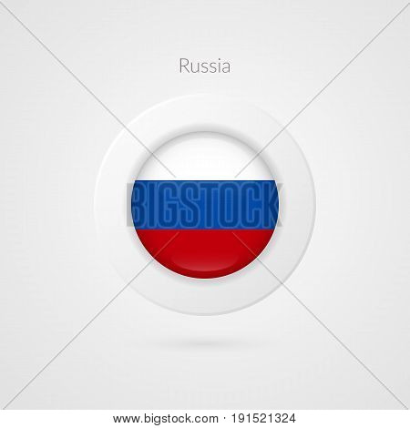 Vector Russian Federation flag sign. Isolated Russia circle symbol. Eastern Europe country illustration icon for presentation project advertisement sport event travel concept web design badge logo