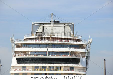IJmuiden the Netherlands -April 30th 2017: Aida Sol at the Felison Cruise Terminal IJmuiden detail of ship