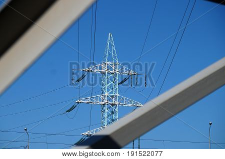 The new painted mast of power lines