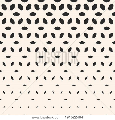 Halftone pattern. Monochrome geometric texture with transition effect. Vertical falling rounded shapes petals. Modern abstract background. Design element for prints, decor, digital, covers.
