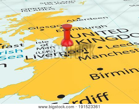 Pushpin On Liverpool Map 3D Illustration
