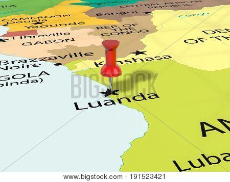 Pushpin On Luanda Map 3D Illustration