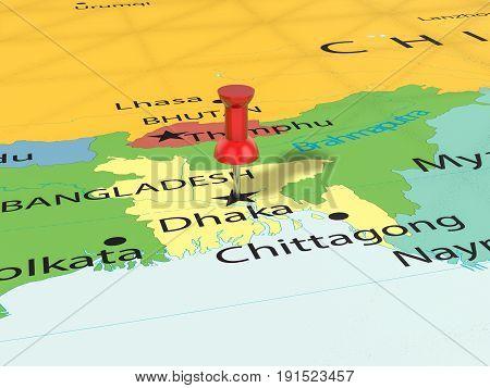 Pushpin On Dhaka Map 3D Illustration