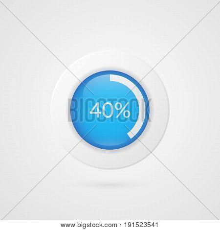 40 percent blue white pie chart. Percentage vector infographics. Sixty Circle diagram isolated symbol on gradient background. Business illustration icon for marketing presentation project data report information plan web design