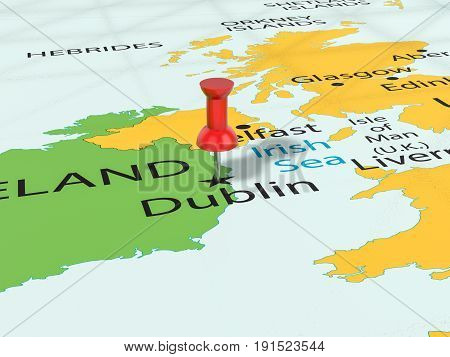 Pushpin On Dublin Map 3D Illustration