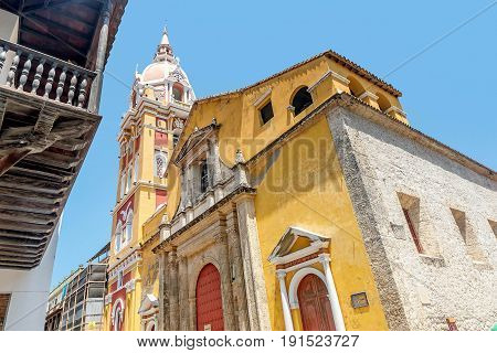 Cartagena, Colombia- March 2, 2017:Cathedral in the old town Cartagena Colombia