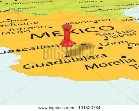 Pushpin On Guadalajara Map 3D Illustration