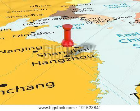 Pushpin On Hangzhou Map 3D Illustration