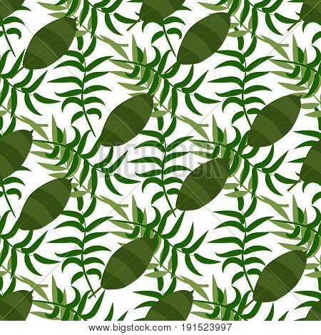 Beautiful seamless vector floral summer pattern background with tropical palm leaves. Perfect for wallpapers, web page backgrounds, surface textures tropical leaves pattern textile.