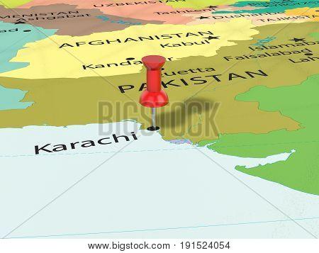 Pushpin On Karachi Map 3D Illustration