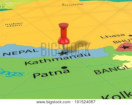 Pushpin On Kathmandu Map 3D Illustration