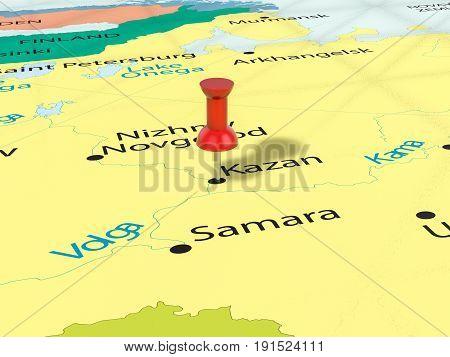 Pushpin On Kazan Map 3D Illustration