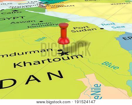 Pushpin On Khartoum Map 3D Illustration