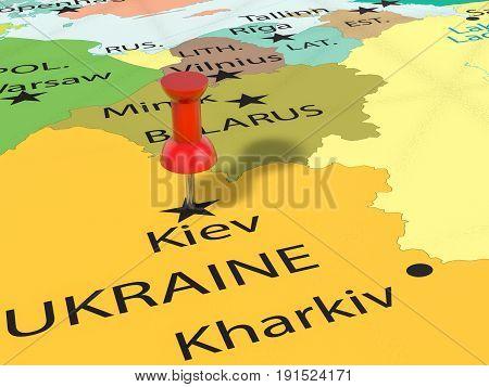 Pushpin On Kiev Map 3D Illustration