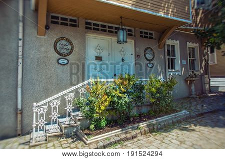 ISTANBUL, TURKEY - MAY 5, 2017: Building of Istanbul library was founded in 1986 on Soguk Cesme street, it goes from Topkapi palace to Gulhane park in Istanbul, Turkey