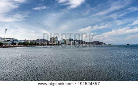 Coastline of Santa Marta city skyline Colombia