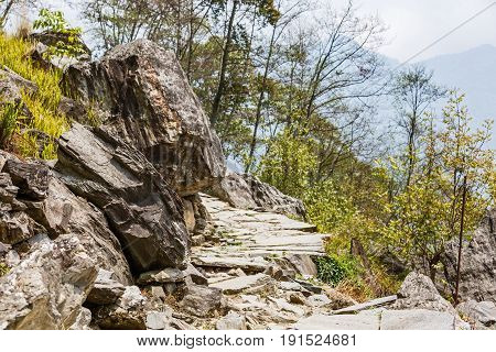 Landscape photo of rocky footpath in the mountains