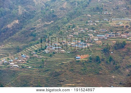 Landscape photo of nepalese village in the mountainside