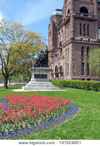 Flowers in Queen's Park near Ontario Parliament Building in Toronto Canada
