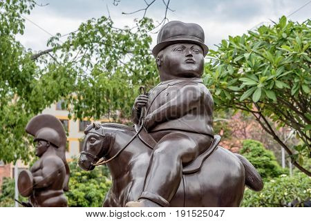 Medellin, Colombia- March 5, 2017: Fernando Botero Sculpture on Plaza Botero Medellin Colombia
