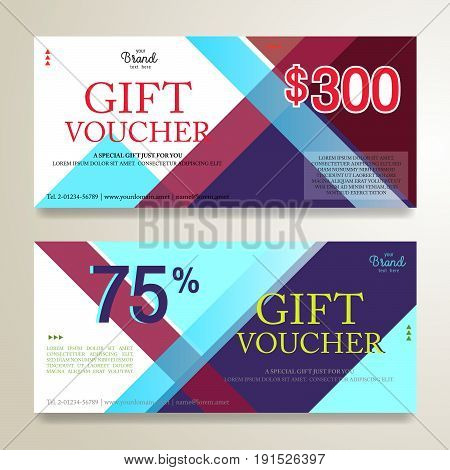 Elegant gift voucher or gift card on colorful abstract stripe background