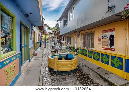Guatape, Colombia- March 6, 2017:Brightly colored street in Guatape Colombia