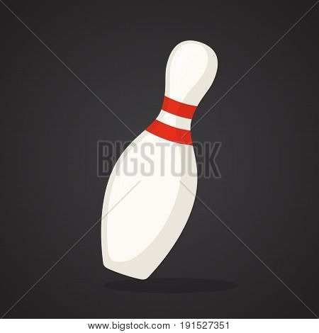 Vector illustration in flat style. One bowling pin. Sports equipment. Decoration for greeting cards, prints for clothes, posters, wallpapers