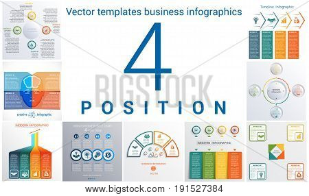 Set colorful templates for infographic 4 positions