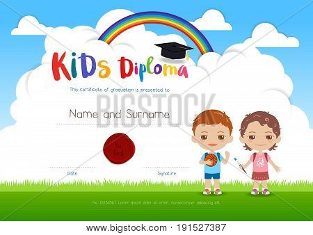 Colorful kids summer camp diploma certificate template in cartoon style with boy girl and sky rainbow