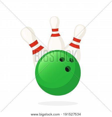 Vector illustration in flat style. Bowling ball knocks down pins. Sports equipment. Decoration for greeting cards, prints for clothes, posters, wallpapers