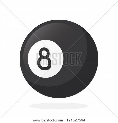 Vector illustration in flat style. Black billiard ball number eight. Sports equipment. Decoration for greeting cards, prints for clothes, posters, wallpapers