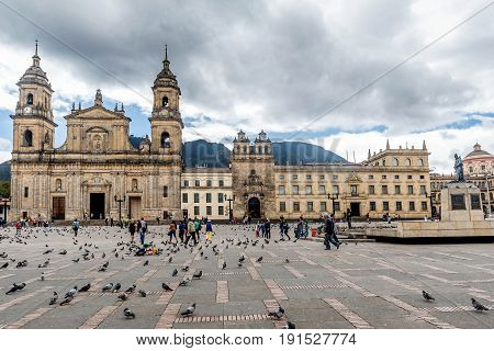 Bogota, Colombia- March 8, 2017:Cathedral at Bolivar square in Bogota Colombia