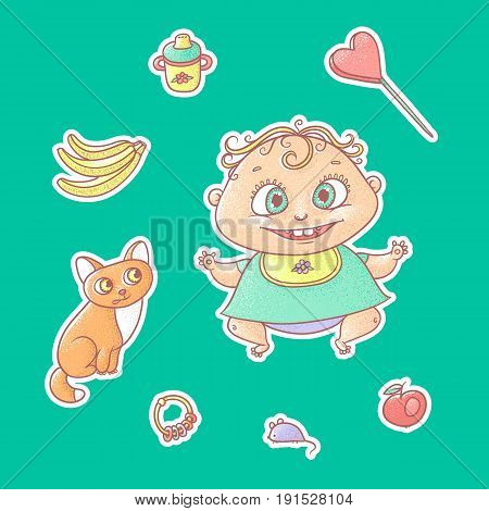 Vector set of color illustrations stickers joyful child and kitten. Baby bottle with water or milk, other food. The chubby funny curly kid with big eyes and red cat.