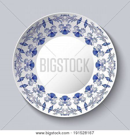 Ornamental porcellaneous plate with a blue pattern in ethnic style Chinese painting on porcelain or Russian style Gzhel. Vector illustration