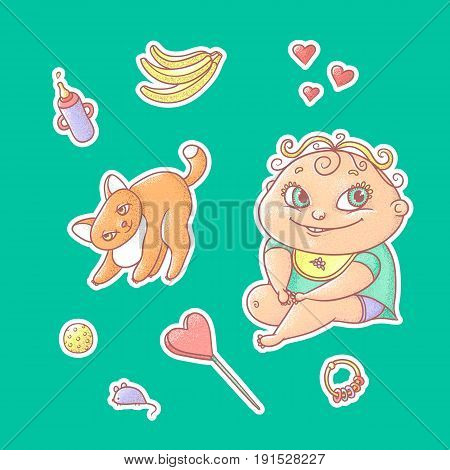 Vector set of color illustrations stickers joyful child and playful kitten. Baby bottle with water or milk, other food. The chubby funny curly kid with big eyes and red cat.