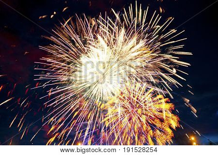Gorgeous Multi-colored Fireworks Display On Dark Background