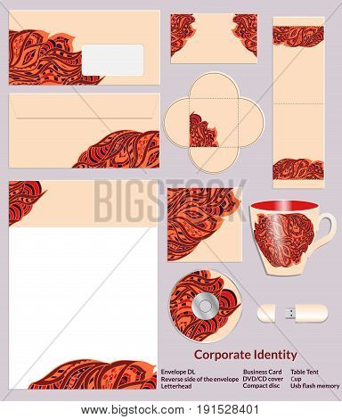 Stationery template design with zentangle ethnic patterns in henna colors. Set of samples for the companys business. Vector illustration.