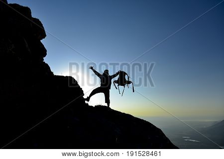 adventure for climbers and sunrise - success