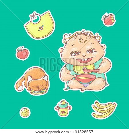 Vector set of color illustrations stickers happy child and kitten. Apples, bananas, kasha and other baby food. The chubby curly kid eating porridge and red cat drinking milk or water.