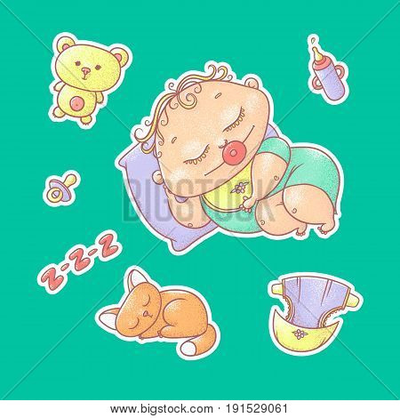 Vector set of color illustrations stickers of the sleeping child and kitten. Hygiene items, baby care and toys. The chubby curly asleep kid with pacifier in his mouth in bright clothes and red cat.