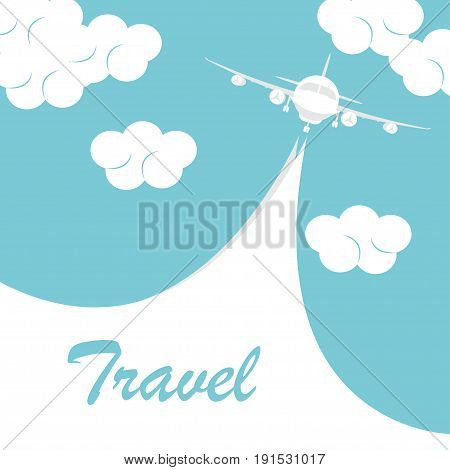 Airplane with white ribbon in blue sky. Biplane with banner. Vintage aircraft travel poster. Vector