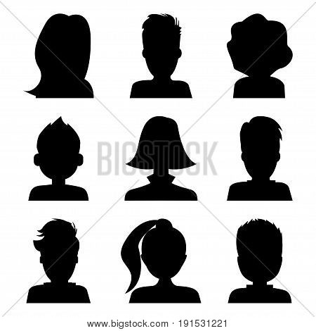 Male and female head silhouettes avatar, man or woman profile set, people portraits. Vector illustration