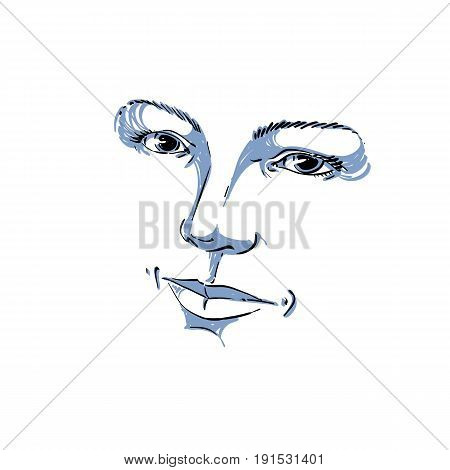 Facial expression hand-drawn illustration of face of romantic girl with positive emotional expressions. Beautiful features of lady visage.