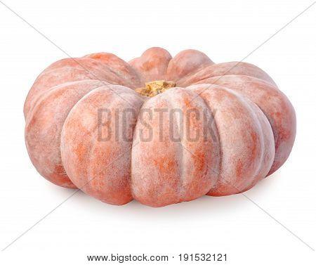 Big Beautiful Orange Pumpkin Isolated On White Background